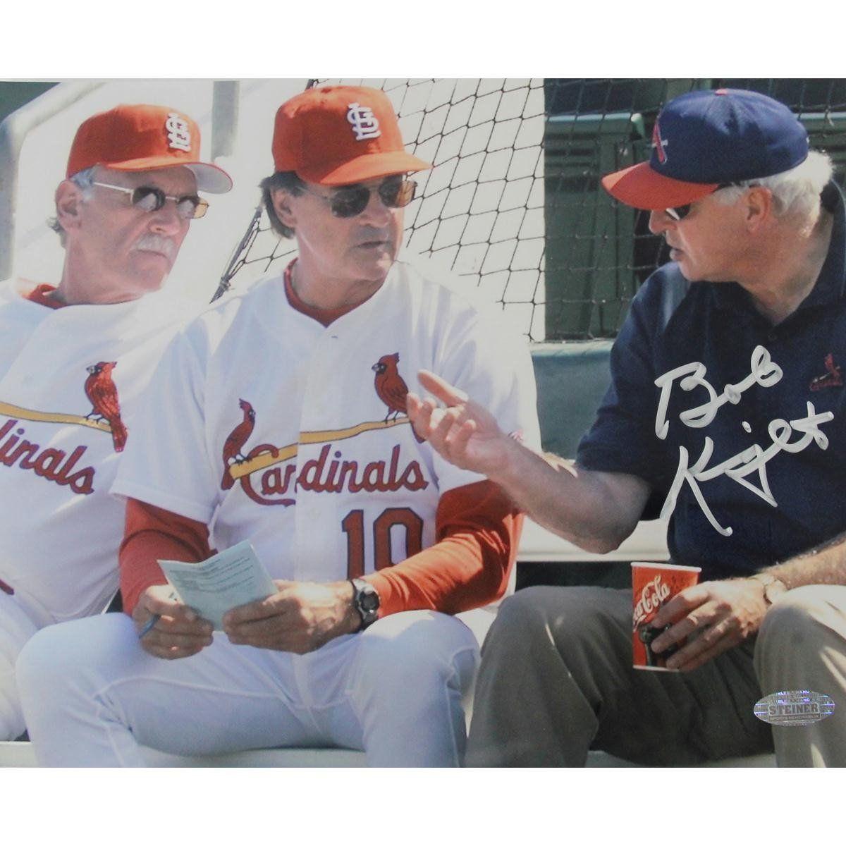 Bob Knight Signed 8x10 W Jim Leyland & Tony La Russa Bob