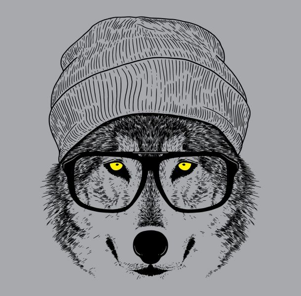 hipster wolf t-shirt | Canvas Paintings | Pinterest