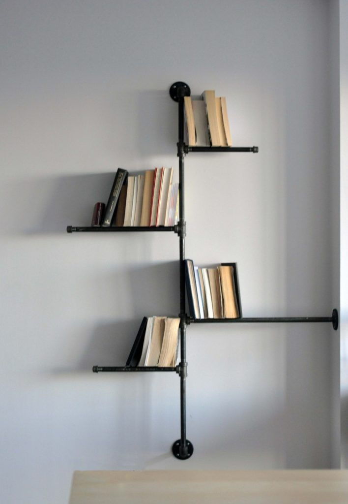 Stunning cool shelf designs contemporary corner black for Diy industrial bookshelf