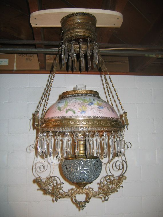 Antique B H Library Kerosene Hanging Oil Lamp Lighting Antique