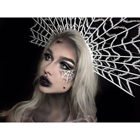 Web queen I made the headpiece out of kabob sticks, yarn, and a head - halloween horror makeup ideas