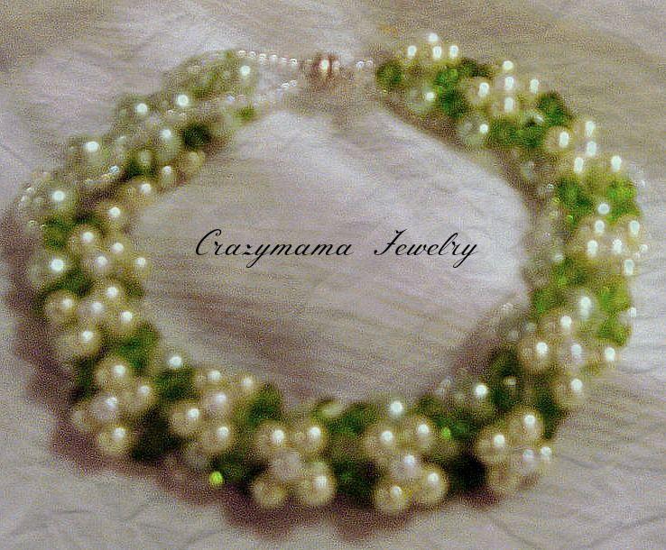 Reversible bracelet light green pearls, dark green crystals. magnetic clasp OAK $30.00