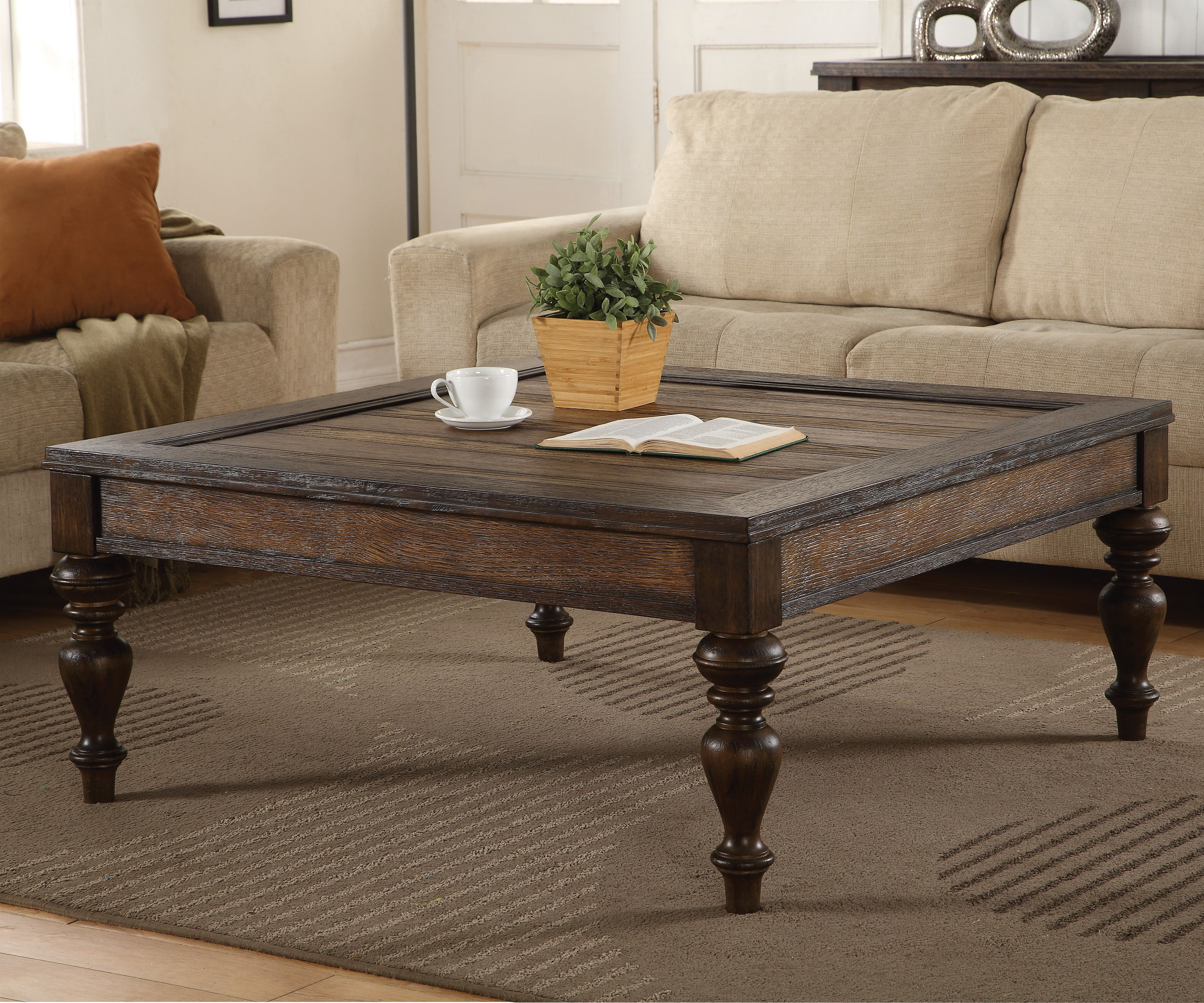 With Its Rich Wood Grain Contrasting Wood Finishes And Detailed Distressing The Bordeaux Coffee Table Is Coffee Table Coffee Table Wood Coffee Table Square [ 3500 x 4200 Pixel ]