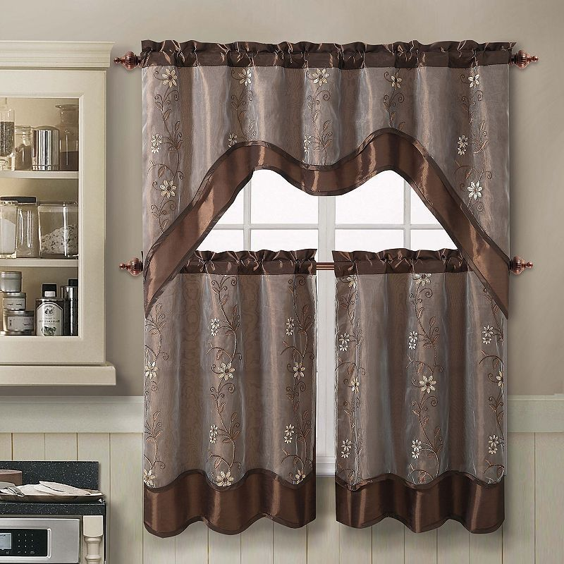 exceptional Brown Tier Curtains Part - 7: Swag Tier Kitchen Curtain Set, Brown