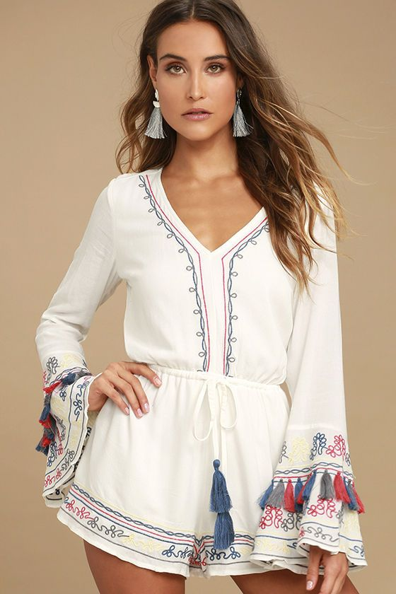 b5eb42ca9dbd There s nothing but island living ahead with the Island of Capri White  Embroidered Long Sleeve Romper! Gauzy woven rayon shapes a V-neck and tying