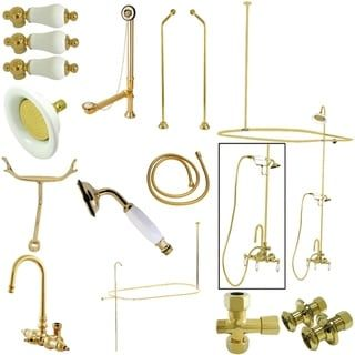 Vintage High Arc Gooseneck Clawfoot Tub Faucet Package (Polished Brass), Kingston Brass