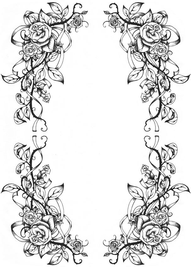 A Rose Border By Dreamangelkristi On Deviantart Book Of Shadows Coloring Pages Colouring Pages