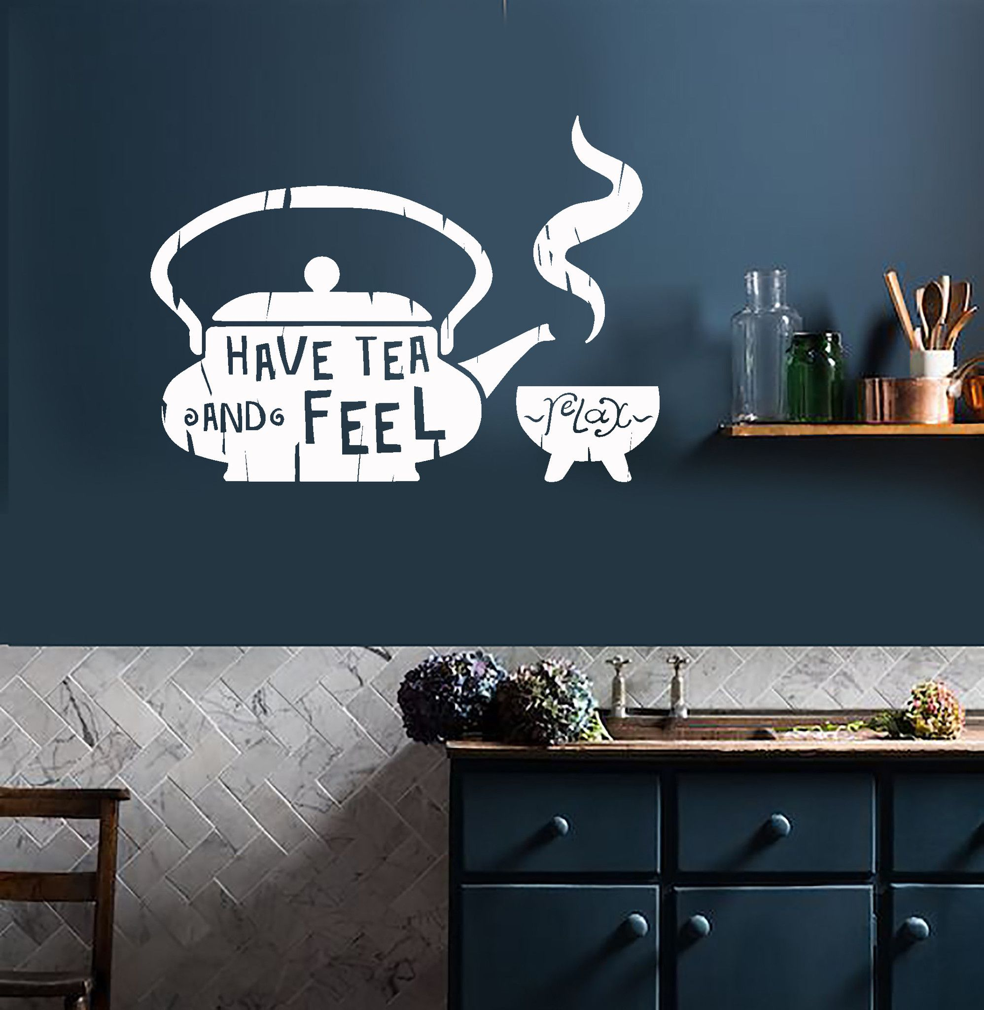 Vinyl Wall Decal Kitchen Quote Tea Teapot Cafe Teahouse Stickers - Custom vinyl wall decals coffee