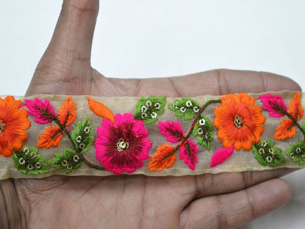 Orange Decorative Embroidery Saree Trim By 2 Yard Indian