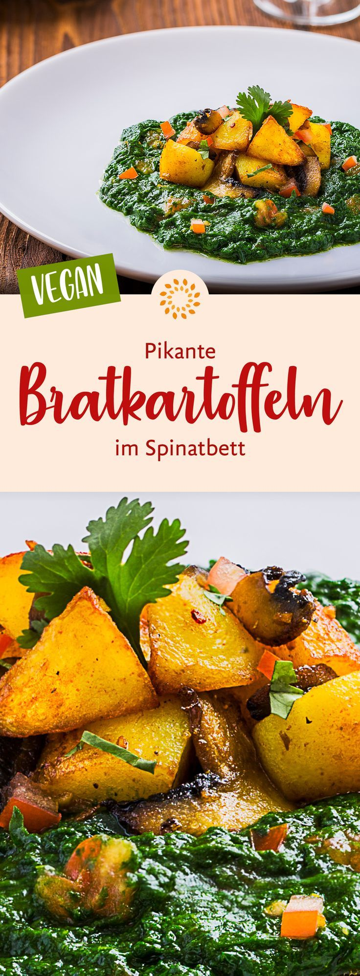 Gebratene Kartoffelpfanne mit Spinat und Pilzen,  Gebratene Kartoffelpfanne mit Spinat und Pilzen,