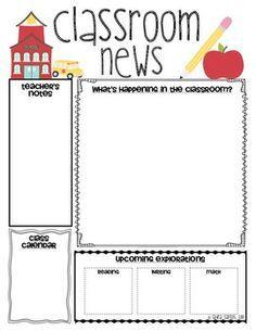 free classroom newsletter template preschool back to school