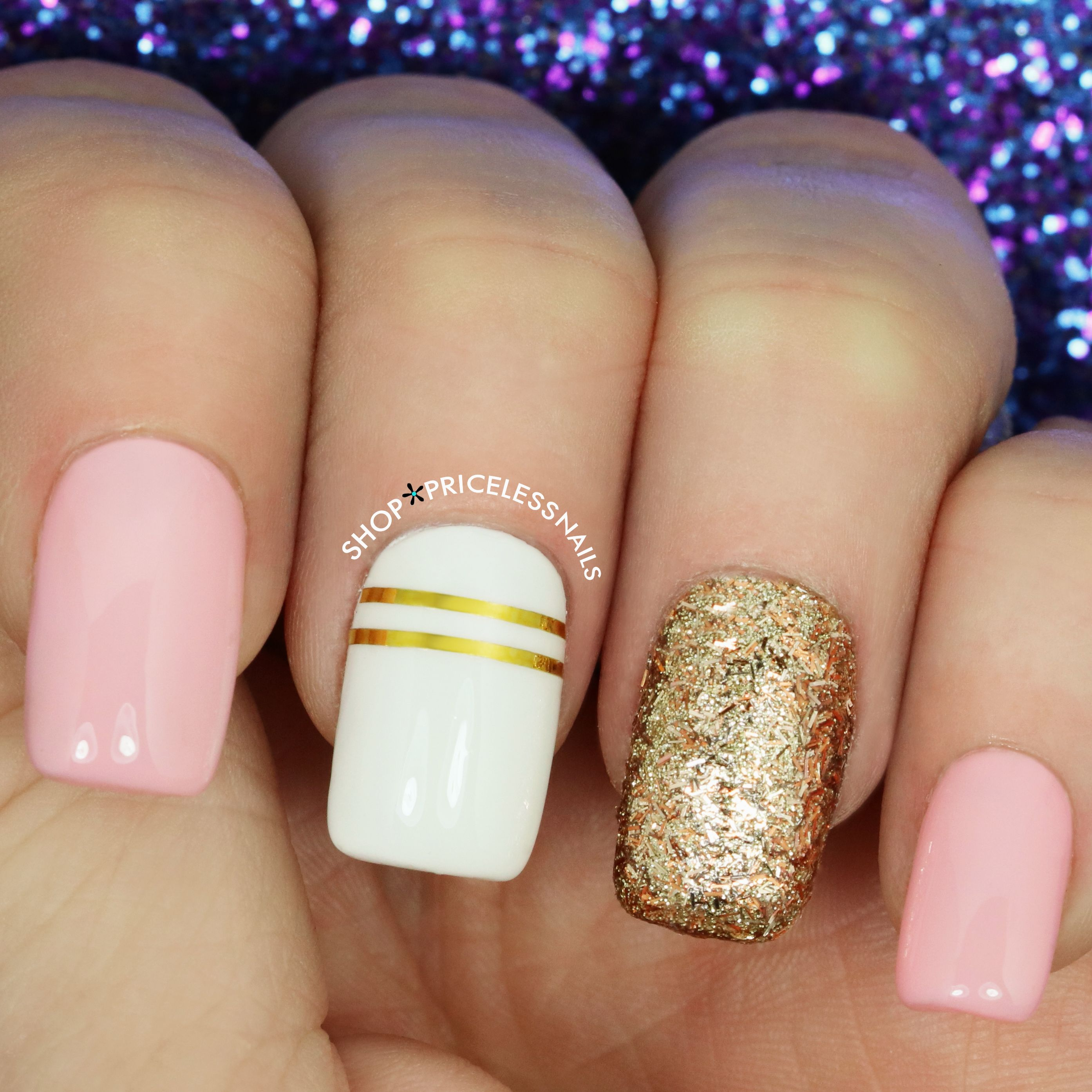 Rose gold, pink + striped nails! ✨ | Nails | Pink nails, Striped ...