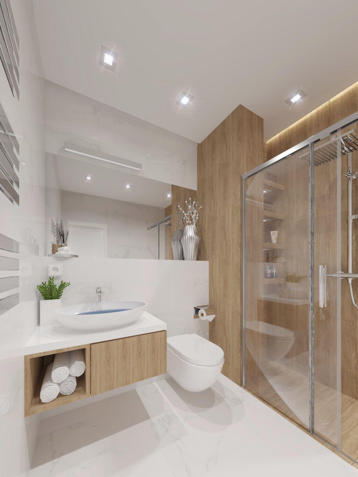 Nowoczesna łazienka Z Bielą I Drewnem W Roli Głównej
