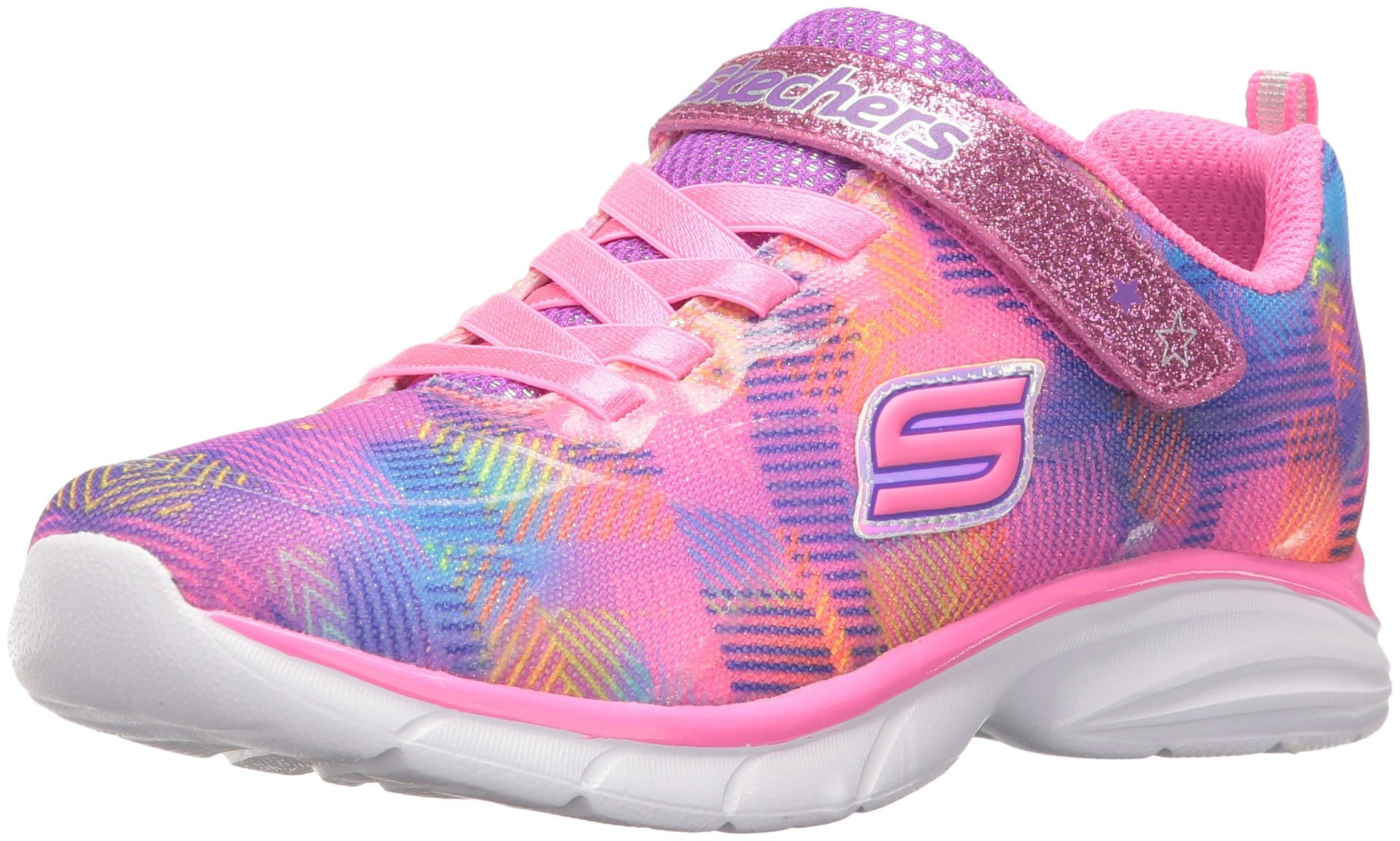 Skechers Kids Girls' Spirit Sprintz Sneaker, Neon Pink/Multi, 4 M US Big Kid