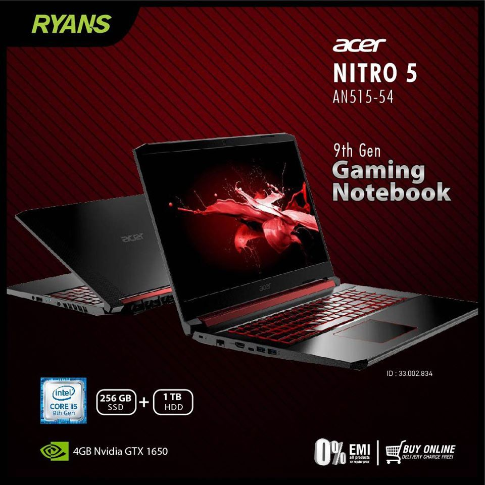 Acer Nitro 5 An515 54 9th Gen Gaming Notebook Intel Core I5