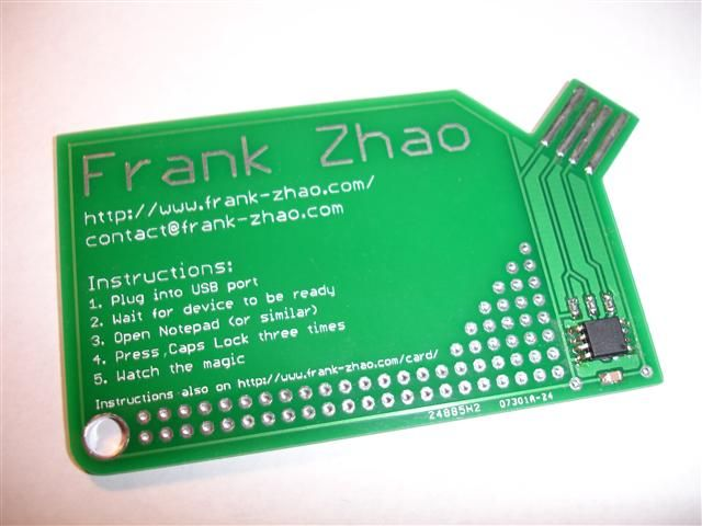 Usb Business Card With A Computer Chip