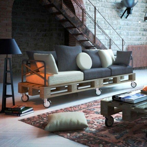 Sofa aus Paletten selber bauen stilvolles Interieur einfallsreiche