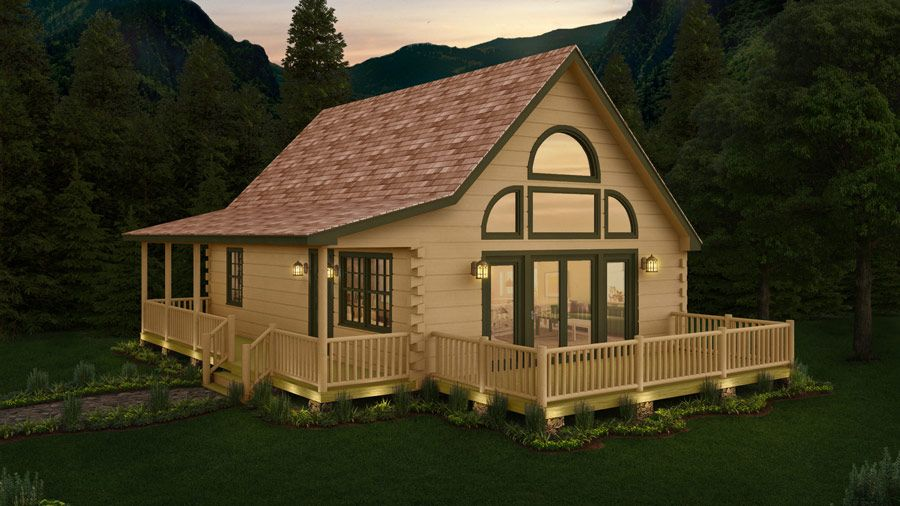 1192 Sq Ft Of Great Log Cabin Living The Merrick Delivers 1 1 2 Stories 2 Bedrooms And 2 Baths T Log Cabin Floor Plans Cottage Style House Plans Log Homes