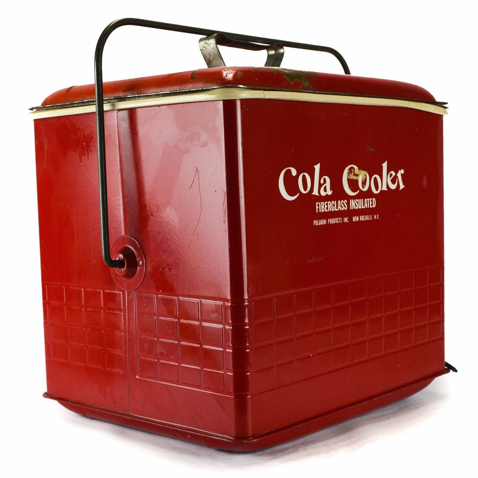 1950\'s Vintage Poloron Cola Cooler Fiberglass Metal Old Red Ice Box ...