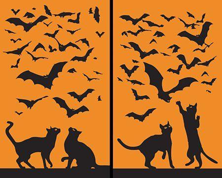 Cats and Bats Translucent Window Decorations \