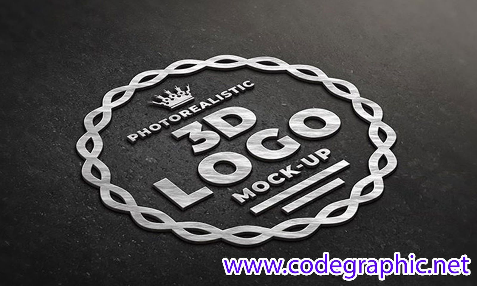 Free Download Photorealistic 3D Logo Mockup in PSD File