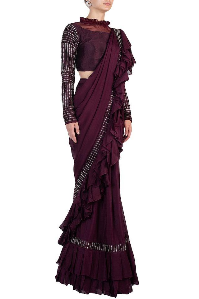 gift for her blue saree Drape saree drape saree Blue drape saree Ready to wear valentine gift for her ethinic wear