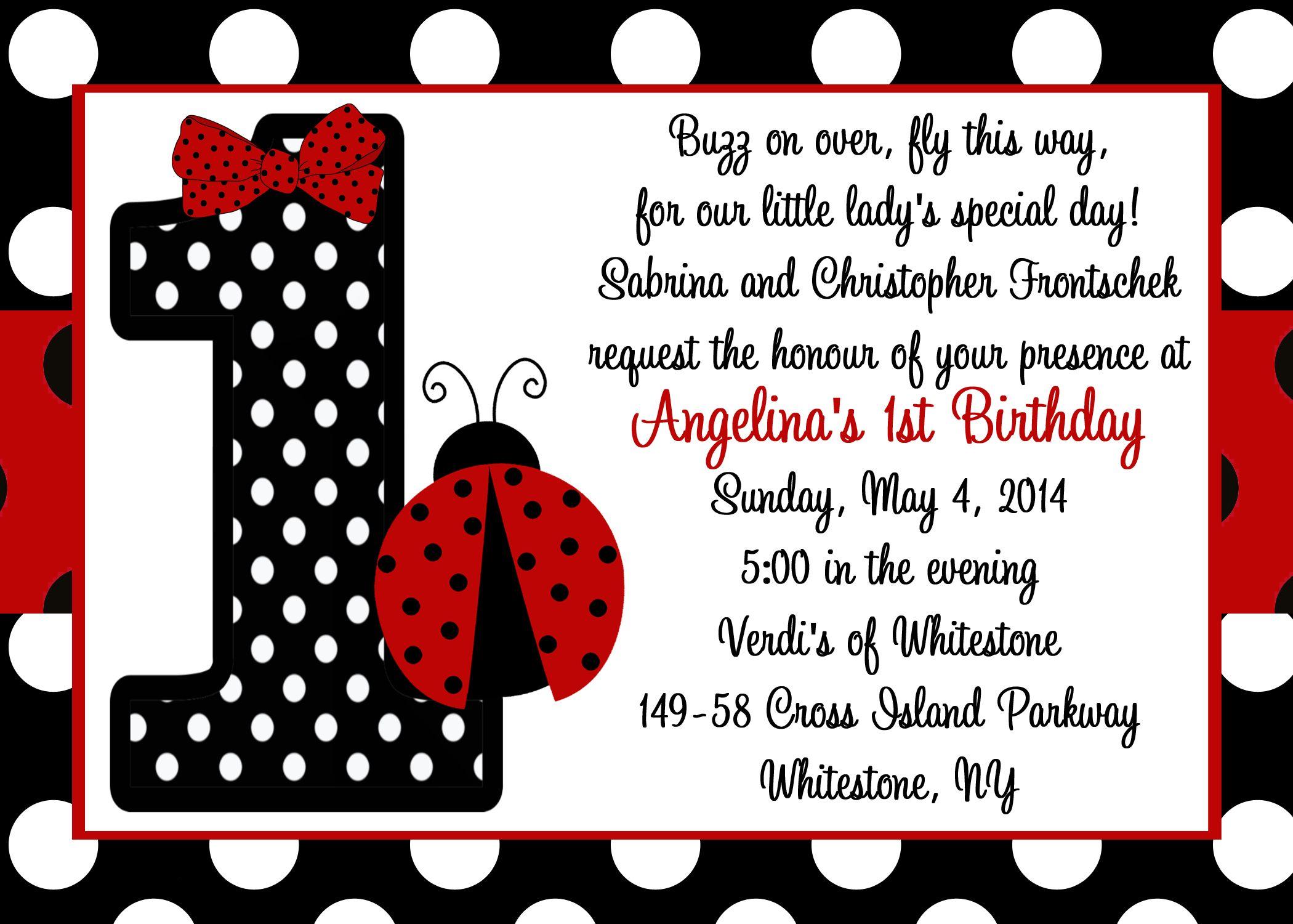 Ladybug 1st Birthday Invitation!   Ladybug Birthday   Pinterest ...