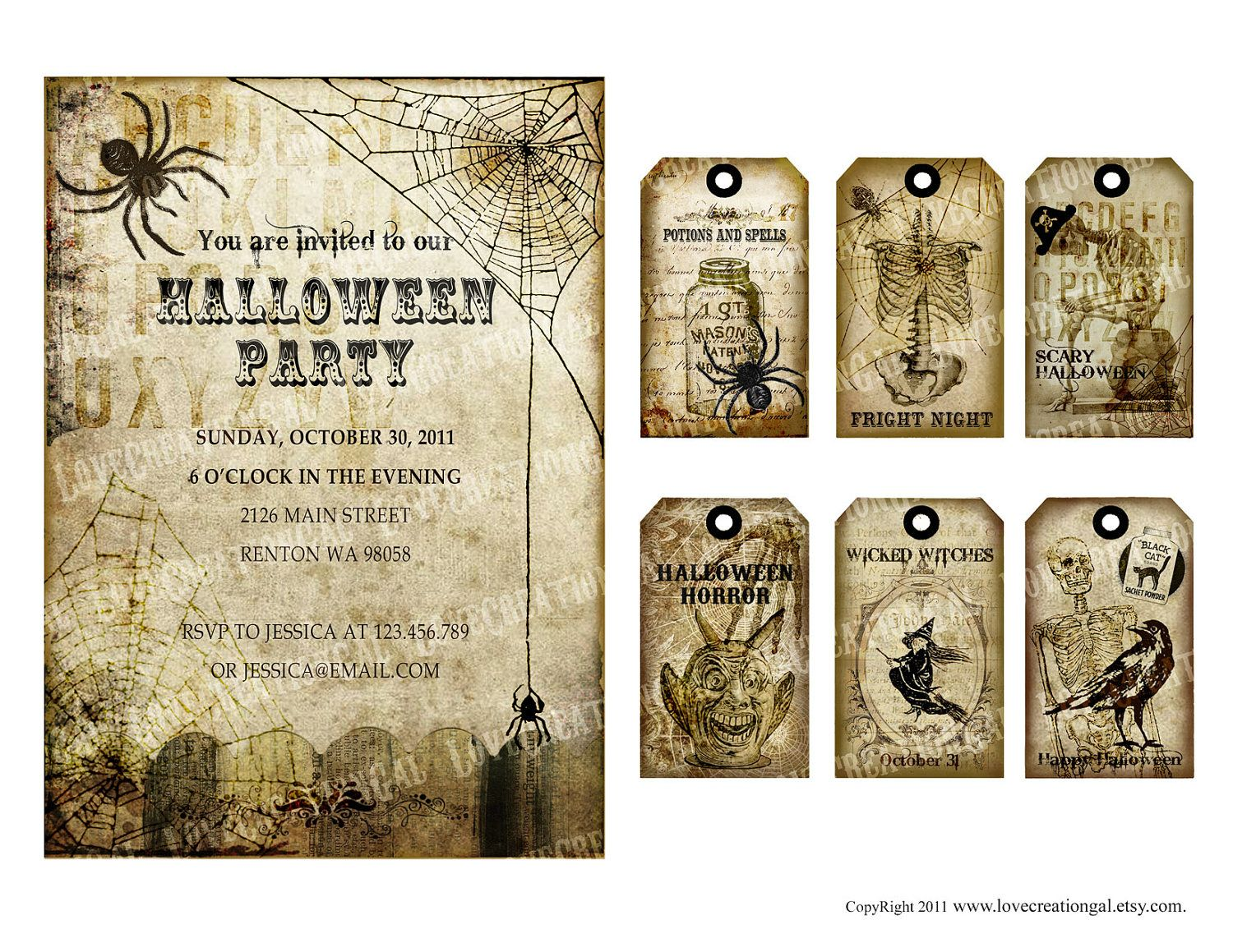 Vintage Halloween Tea Party Invitation / Labels / Gift Tags / Note ...