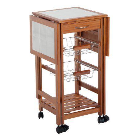 Homcom 37 Modern Wooden Drop Leaf Kitchen Island Rolling Cart With Basket Storage Walmart Com Wooden Storage Shelves Drop Leaf Kitchen Island Rolling Cart