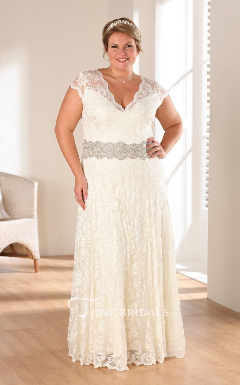 Aline long vneck cap lace appliques dress in future wedding