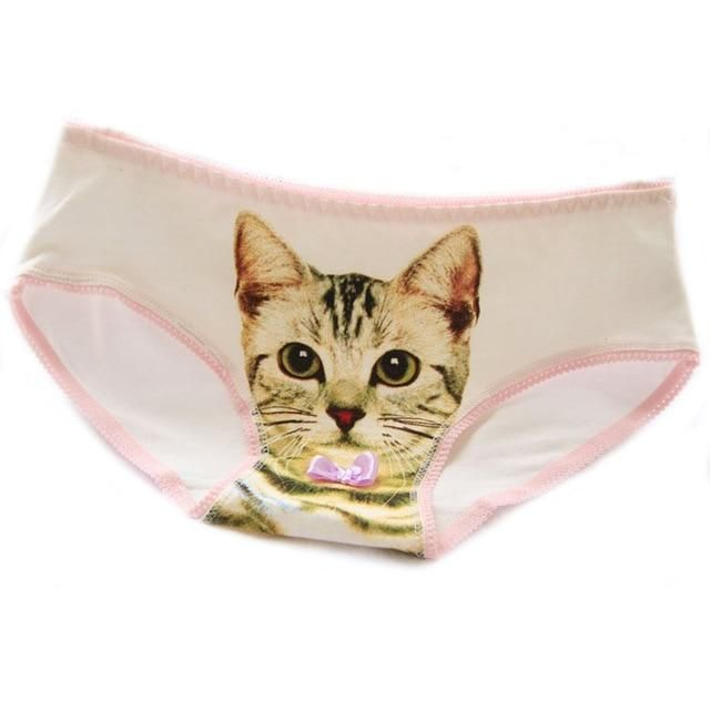 7a645623337 New Hot Sexy Women  s Underwear Cotton Plus Size Underwear Briefs 3D Cat  Printing Panty Trousers Sexy Lingerie Intimates briefs