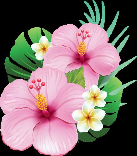 тропические Arte Flor Festa De Flamingo Rosa E Flores De