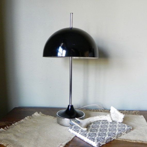 Vintage Half Dome Black And Silver Metal Desk Table Lamp Art