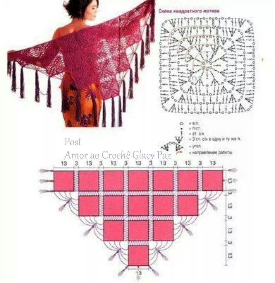 Pin de Nariman Aburish en crochet chal | Pinterest | Chal, Cosas ...
