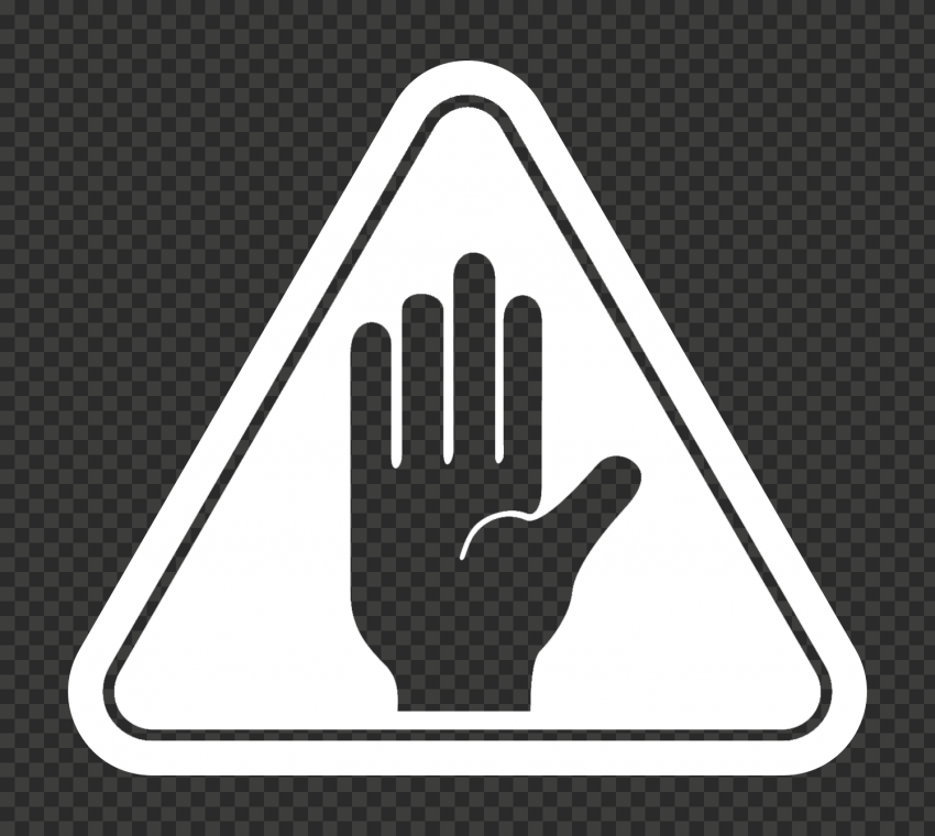 Hd Outline Hand Stop Silhouette On White Triangle Road Sign Png Triangle Road Signs Outline Png