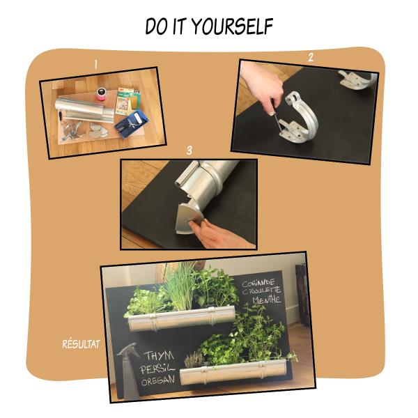 Pas besoin d'avoir un jardin, ou un balcon, pour pouvoir disposer de toutes les herbes aromatiques fraîches qu'il nous faut ! Grâce à ce DIY malin, vous pouvez exposer simplement et joliment menthe, basilic, persil ou coriandre dans votre cuisine