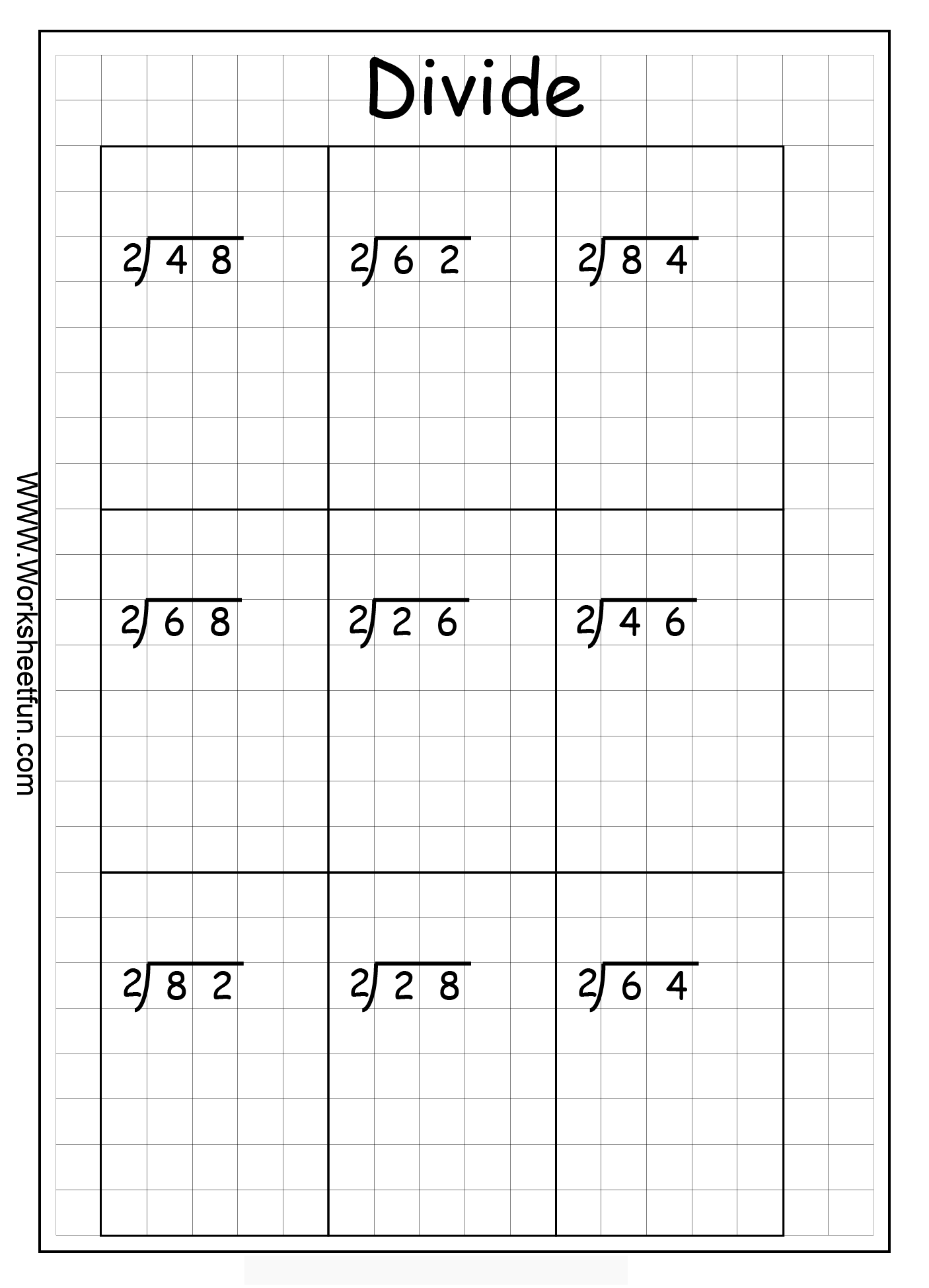 Long Division 2 Digits By 1 Digit No Remainder 10 Worksheets – Division Worksheets for Grade 2