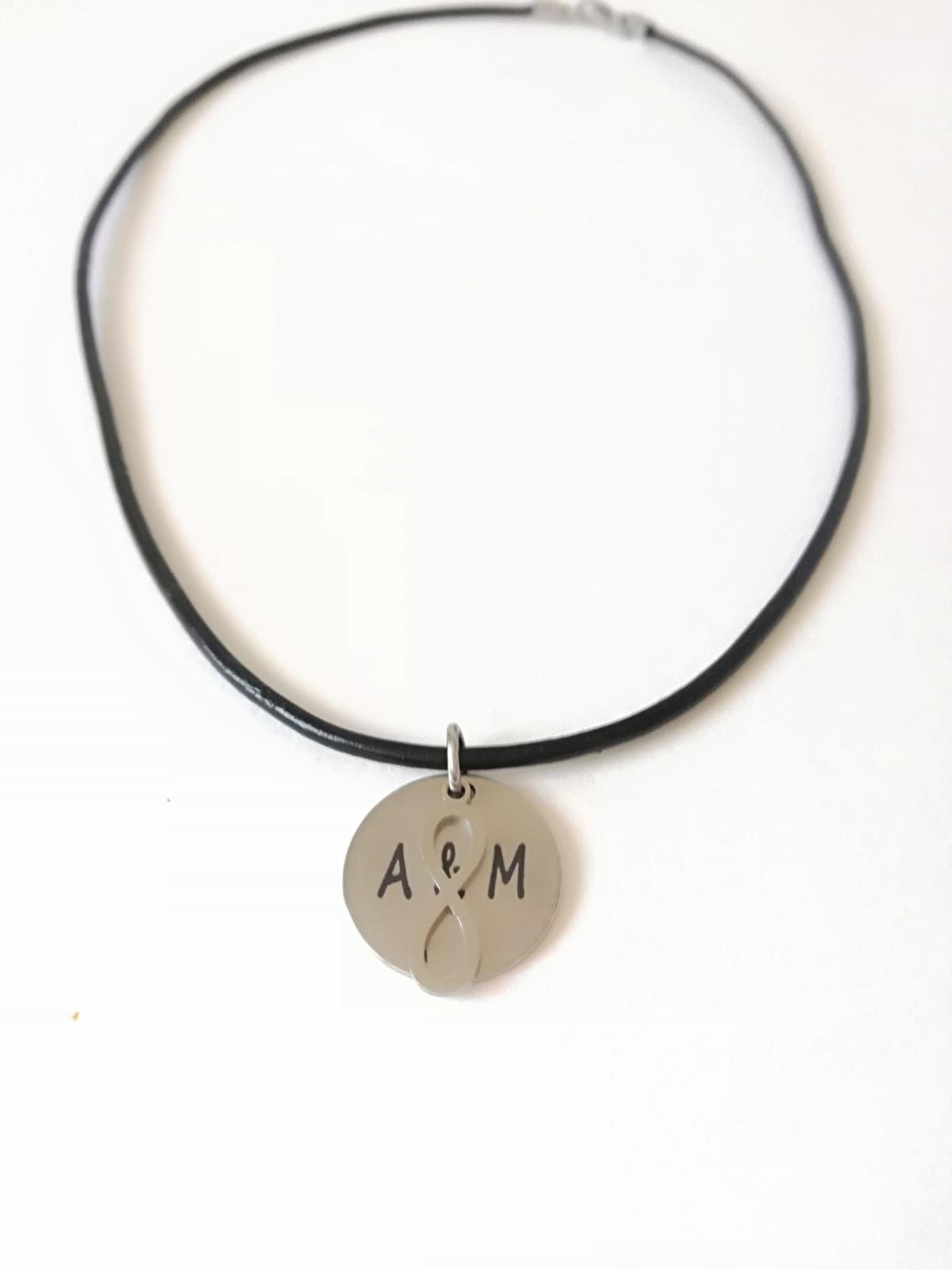 de1abbebbfb8 Collar cuero con medalla acero personalizada