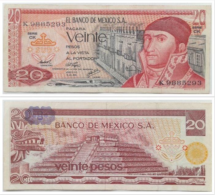 20 Pesos Mexico 1976 Notas Colecoes