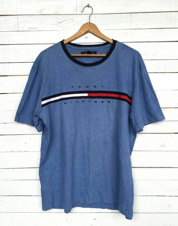 fea3194a Vintage 90's TOMMY HILFIGER RINGER Stripe T Shirt | WISHLIST | Tommy ...