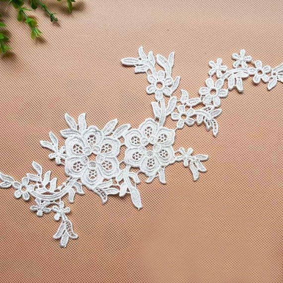 1 Pair Lace Appliques,Ivory Embroidered Flowers,Patches For Wedding Supplies,Bridal Hair Flower,Headpiece(112-11)