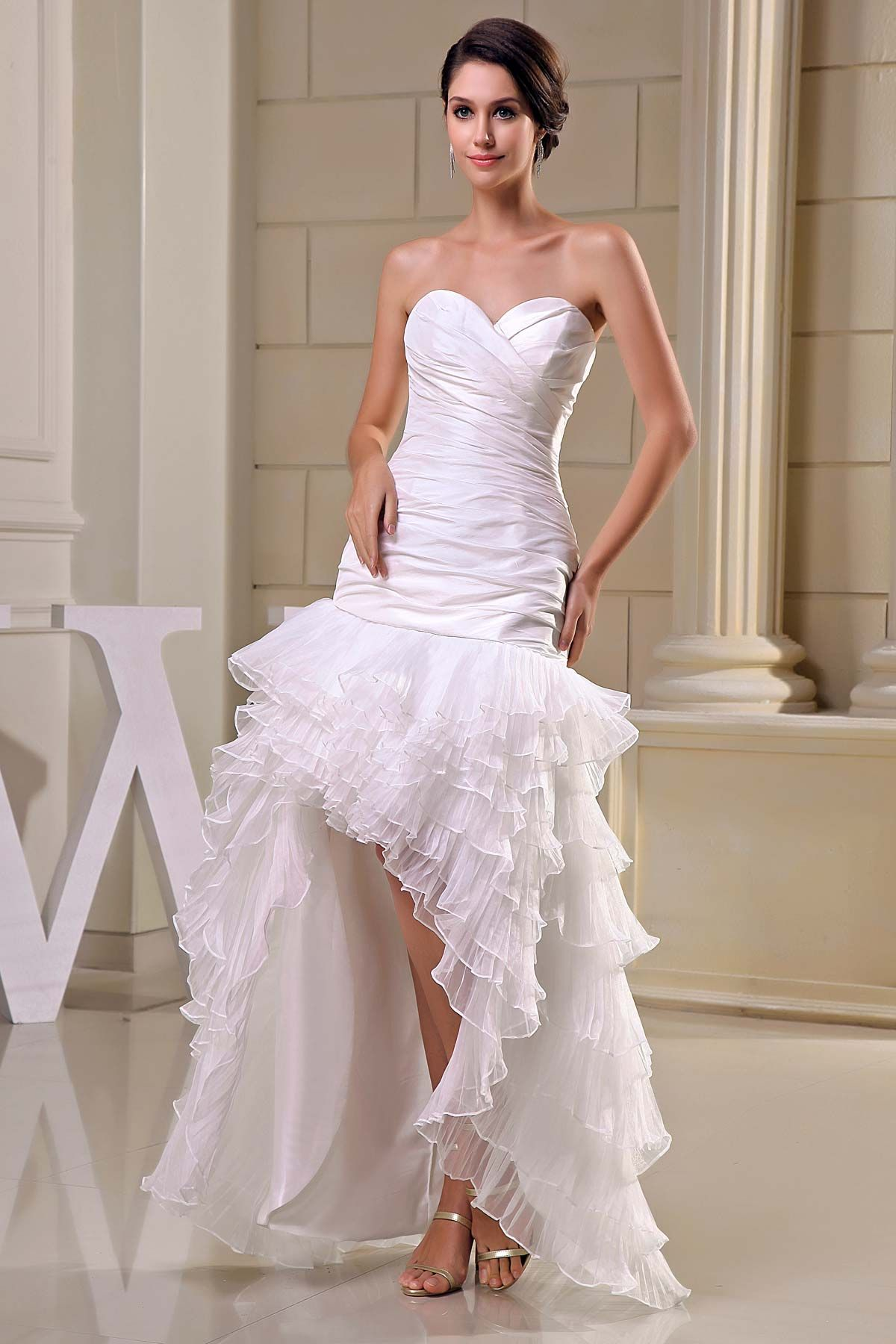 Mermaid ruffle wedding dress  Mermaid White Tulle Asymmetrical Sweetheart Wedding Dress  Wedding
