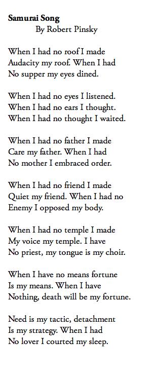 Samurai Song Robert Pinsky Words Poems Words Of Wisdom
