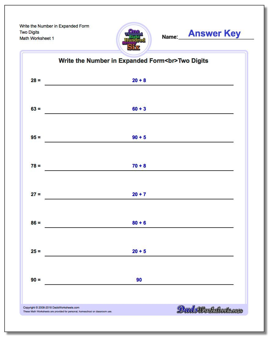 expanded form of 60  Write the Number in Expanded Form Worksheet Two Digits ...