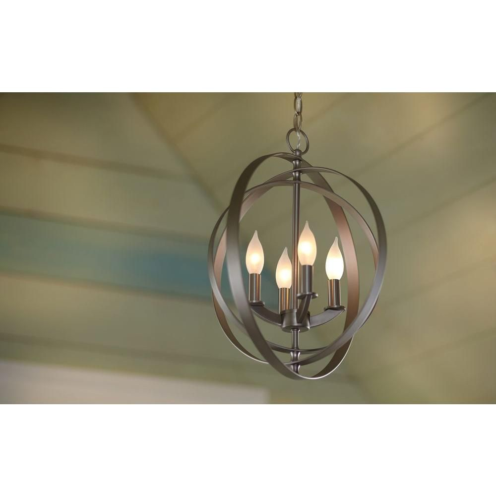 Exceptional Progress Lighting Equinox Collection 4 Light Burnished Silver Foyer  Pendant P3827 126