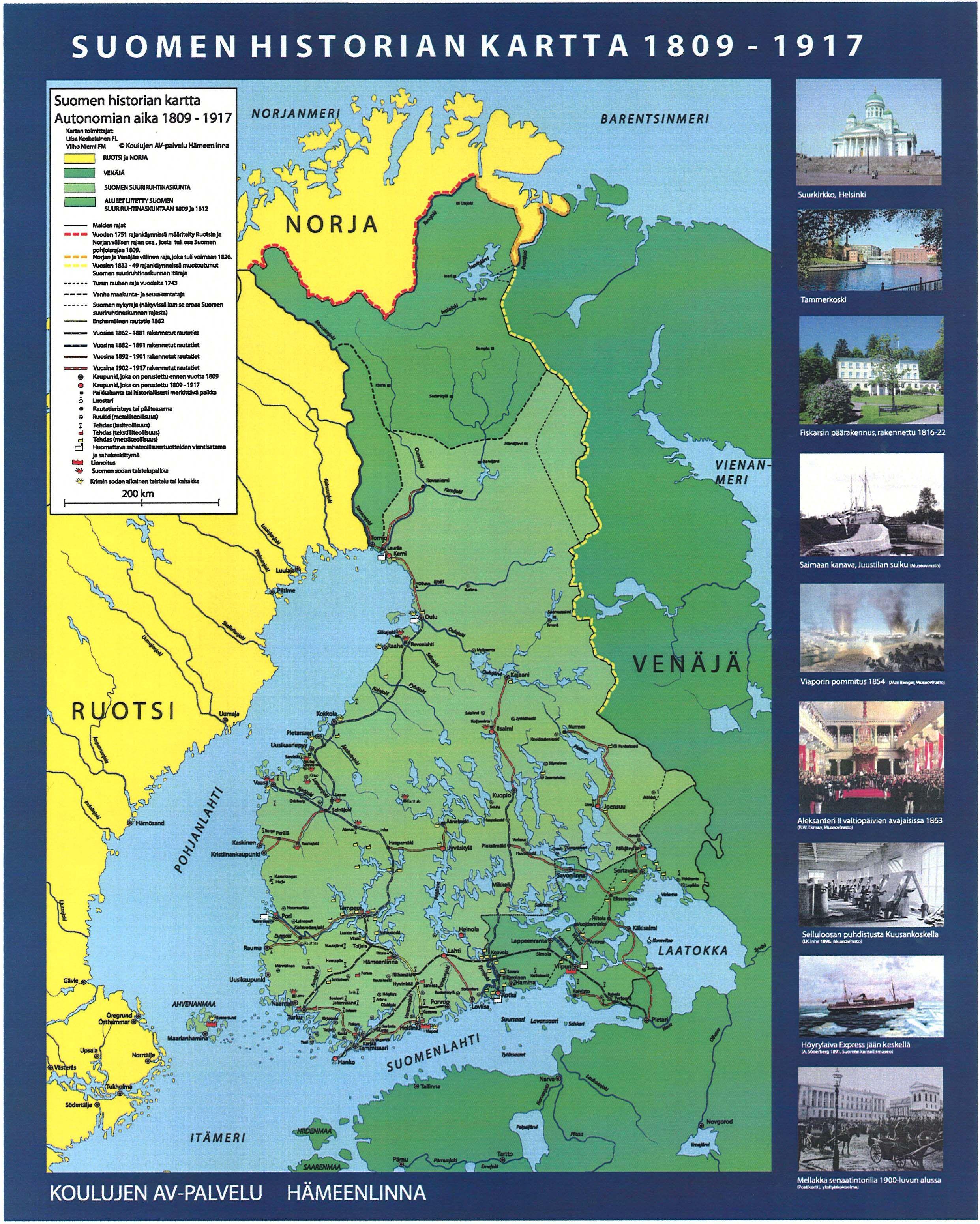 Suomen Historia 1809 1917 Historia Kartta Suomi