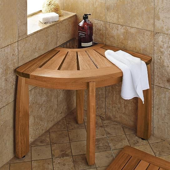 Resort Teak Corner Shower Seat With Basket Corner Shower Seat Teak Bathroom Corner Shower