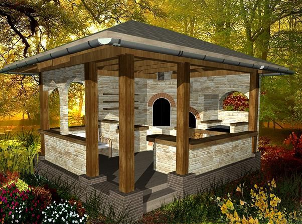 Projekt Wedzarni I Pieca Chlebowego Altana Grill Backyard Patio Backyard Pavilion Gazebo Plans