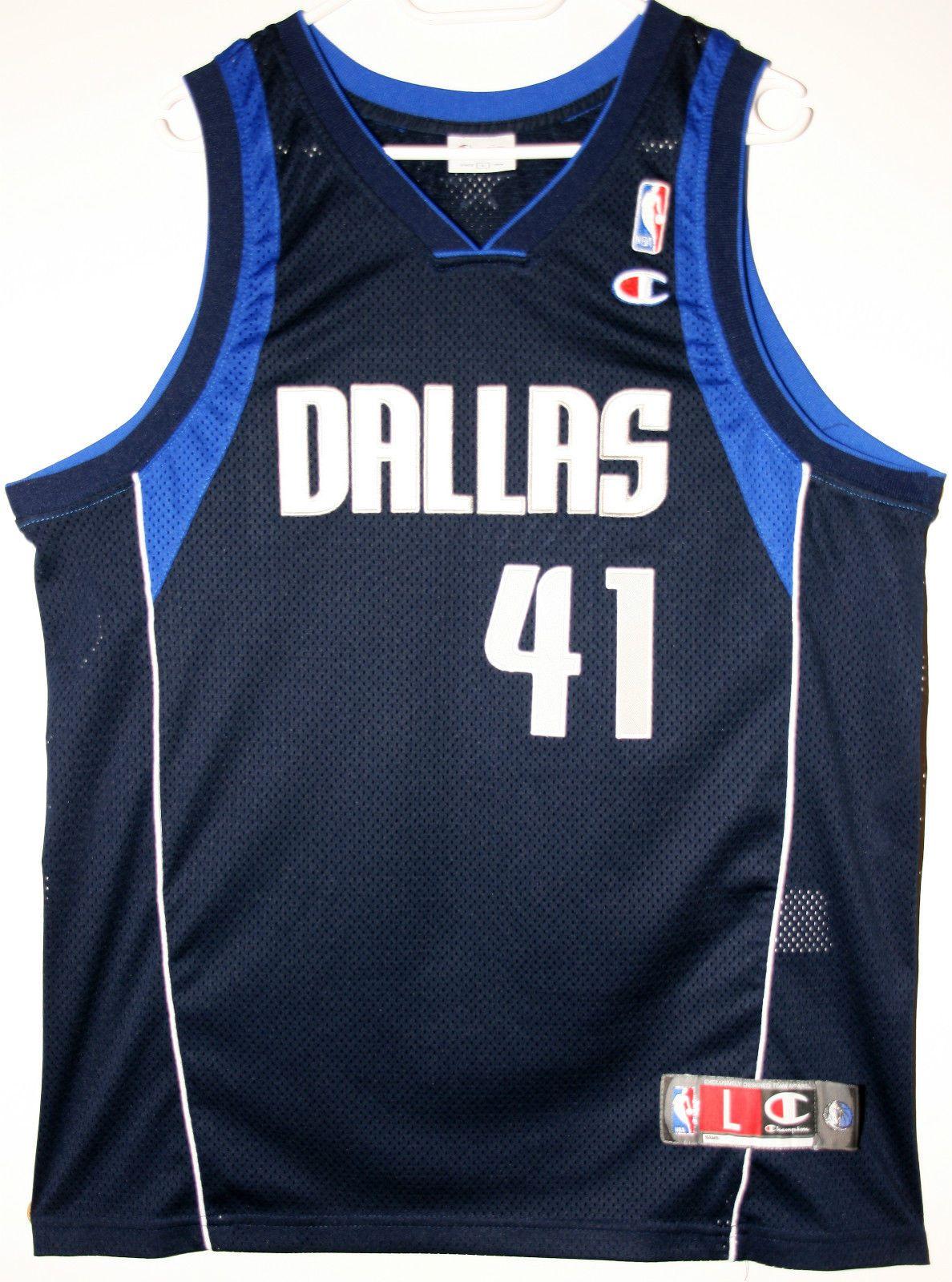 671bc7adb3e ... Champion NBA Basketball Dallas Mavericks 41 Dirk Nowitzki Authentic  Trikot Jersey Size L ...