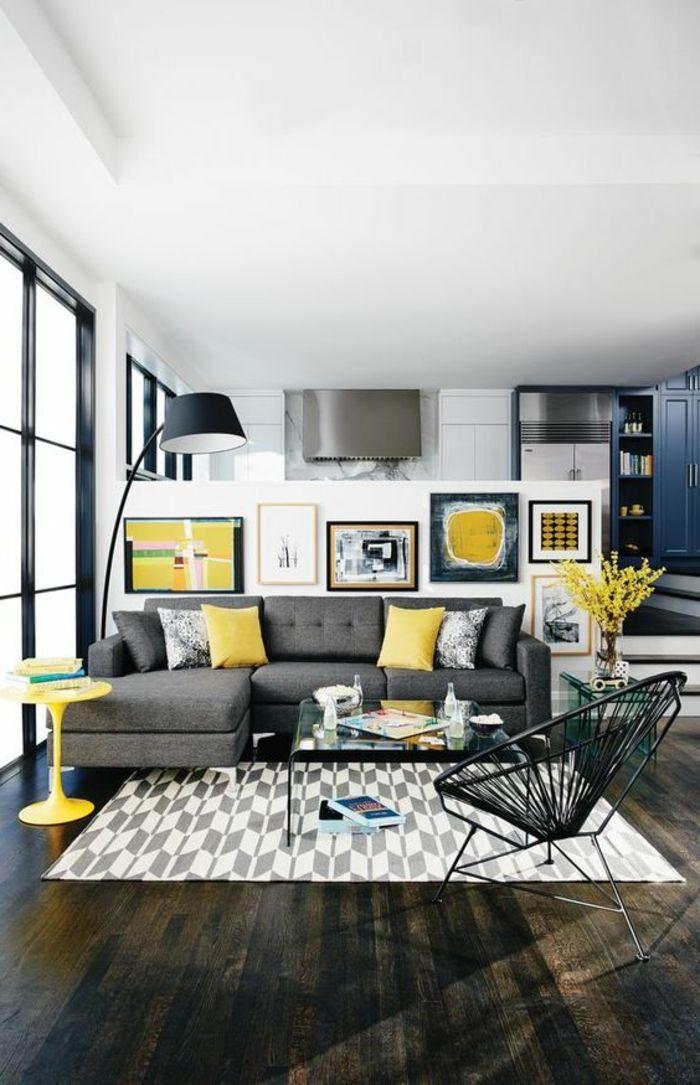 salon gris et jaune